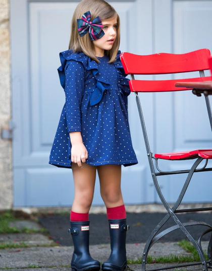 vestido topos gold kids chocolate