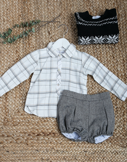 Conjunto Niño Cuadros lurex Kids Chocolate